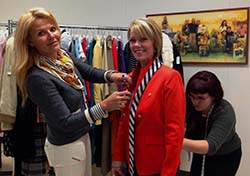 Ashley Borders, Paula Fogarty, Paige Striebig (left to right) Fitting for Goodwill Fashion Show