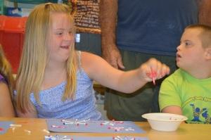 Crafting at Camp Buddy in Effingham - Sophia Stickland (Left) ; Austin Smith (Right)