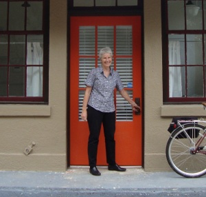 Paula Kreissler Director of Healthy Living and Community Development in Front of Healthy Savannah New Location 1301 A Liberty Street