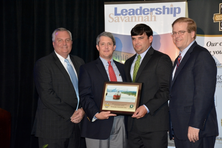 (LEFT TO RIGHT) William W. Hubbard, President & CEO of Savannah Chamber of Commerce; Jay Neely, Vice President of Law & Public Affairs for Gulfstream Aerospace; Houstoun Demere, Vice President of enmarket; Michael C. Traynor, Publisher of Savannah Morning News