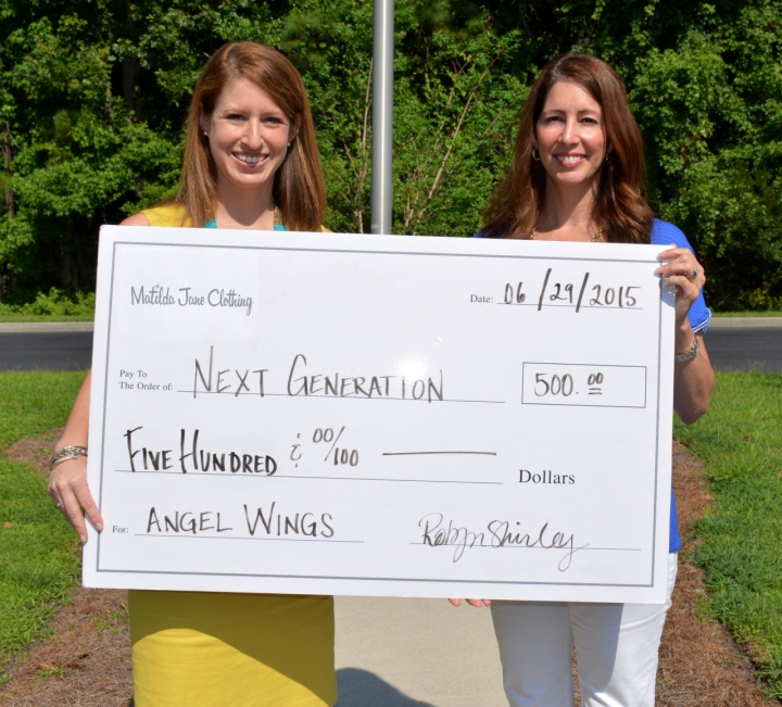 (LEFT TO RIGHT) Neilie Dunn, President of Next Generation, accepts donation from Robyn Shirley, Independent Trunk Keeper & Team Leader with Matilda Jane Clothing 2
