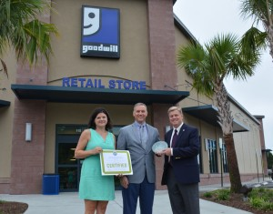 (LEFT TO RIGHT): Gretchen Callejas, Project Architect at Felder & Associates, and Brian Felder, Founder and Principal of Felder & Associates, and Michael Winckler, CEO of Goodwill of the Coastal Empire