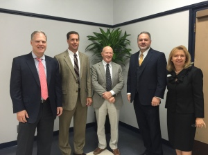 (Left to right) Dr. Bradley Heiges, Optim Healthcare; Dr. David Carney, Memorial University Health System; Dr. Brian Kornblatt, Georgia Emergency Associates; Charles Bowen, The Bowen Law Group; Sandi Roth, Savannah CFO Council