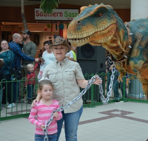 Davyn Parket meets with Rexie the T-Rex at Savannah Mall