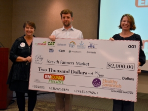 (LEFT TO RIGHT) LizAnne Roberts, Healthy Savannah; Matt Clements, enmarket; Teri Schell, Forsyth Farmer's Market