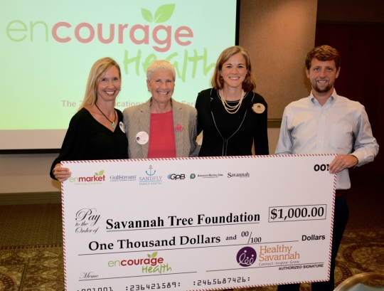 Caption (LEFT TO RIGHT) Denise Grabowski, Co-Founder of Designing4Health; Paula Kreisler, Executive Director of Healthy Savannah; Karen Jenkins, Savannah Tree Foundation; Matt Clements, Director of Marketing at enmarket